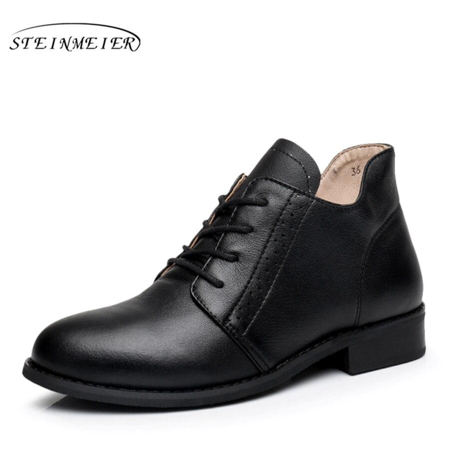 Натуральная кожа ботильоны удобные мягкие ботинки Бренд дизайнер ручной работы черный красный нам Размер 10 с мехом 2018 весна