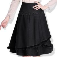 New 2015 Long Women S Skirt Black Plus Size A Line Skirt Rabbit Stitching Sequins Fashion