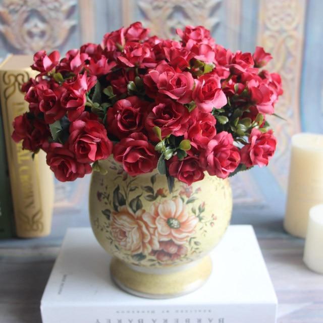 Online shop austin 15 heads autumn fake silk flowers artificial rose image mightylinksfo