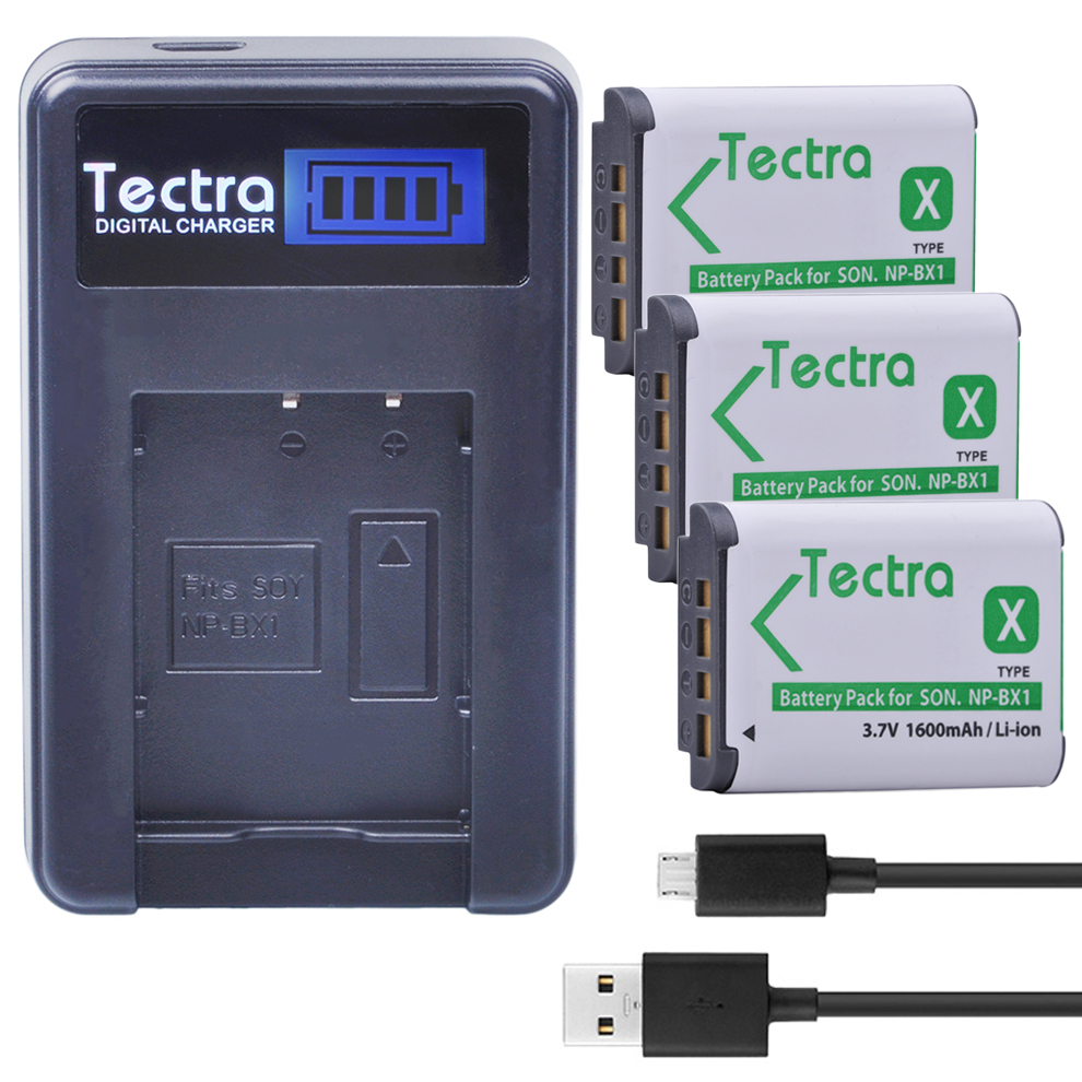 Tectra 3PCS NP-BX1 NP BX1 NPBX1 Li-ion Camera Battery + LCD USB Charger for Sony DSC-RX100 RX1 HDR-AS15 AS10 HX300 WX300 dste np bx1 battery