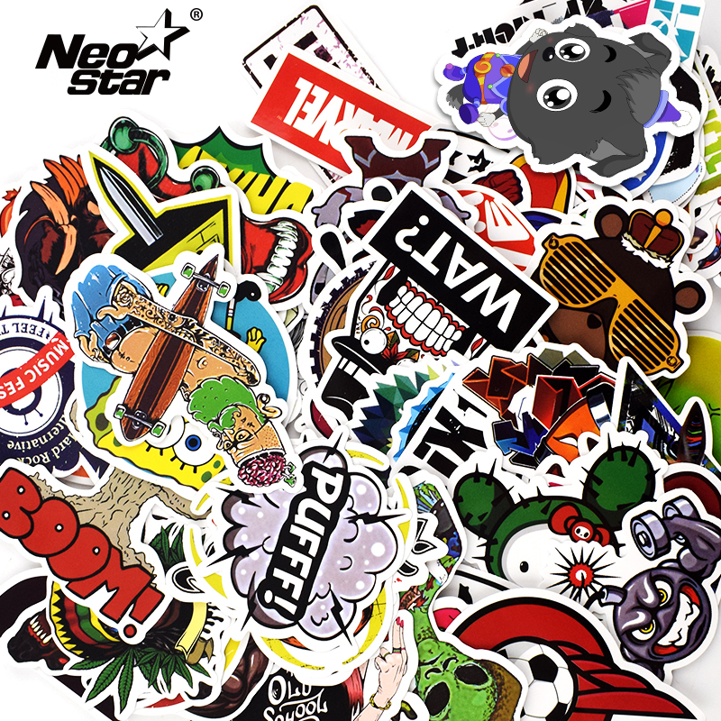 100Pcs/Lots Mixed Vinyl Stickers For Tablet Laptop Moto Car Suitcase Waterproof Mobile Phone Stickers Decoration Decals