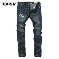 Evisu Men Jeans Male Brand Denim Long Pants Men's Biker Jogger Jeans Casual Ripped Scratched Skateboard Trousers Cowboys 6060