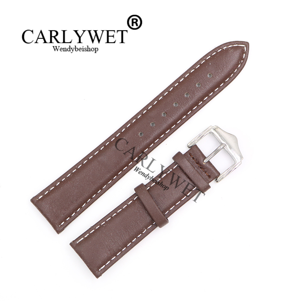 CARLYWET 20 21mm Newest Brown with White Real Leather Handmade Thick Wrist Watch Band Strap Belt With Silver Polished Pin Buckle
