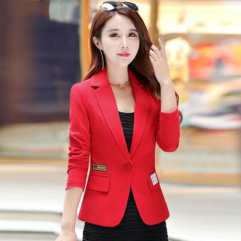 2018 Free Shipping Autumn New Women Slim Suit Long Sleeve Women Work Wear Fashion Jacke Red Black Plus Size