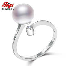 Classic Style Womens Pearl Rings, 8-9mm White Natural Freshwater Pearls,100% 925 Sterling Silver Ring, jewelry