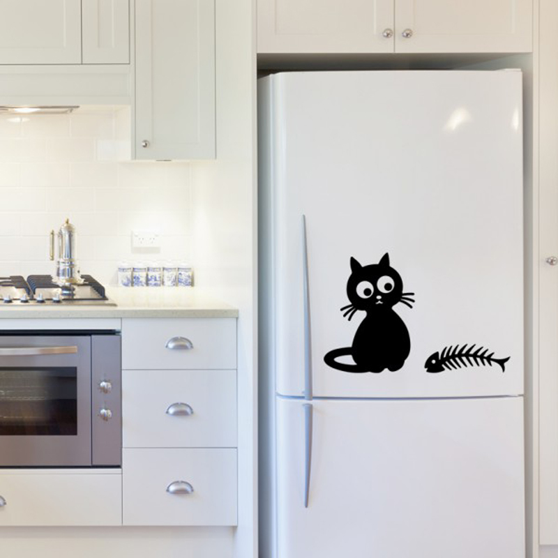 Creative cat and fish restaurant kitchen wall stickers for Kitchen cabinets lowes with hong kong wall art