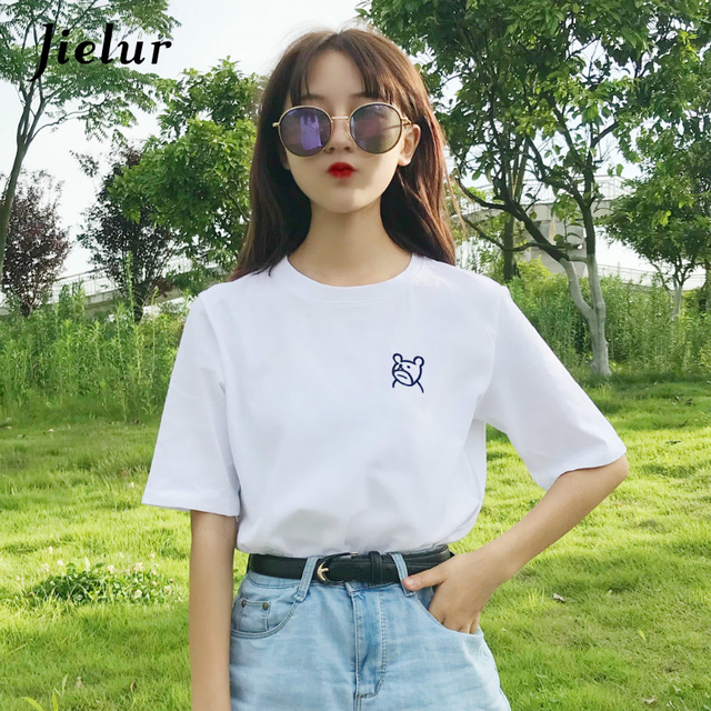83f891960b9833 Jielur Bear Embroidery White T Shirt women Basic T-shirt Casual O-neck Tee