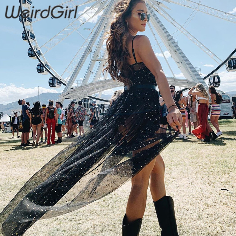 Weirdgirl Women See Through Mesh Sexy Dresses Strapless Sleeveless Bodycon Dress Fashion Elegant Loose Club Party New Summer