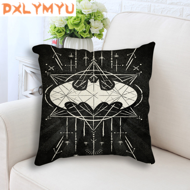 Linen Black Seat Cushion For Sofa Chair Superhero Batman Superman Logo Graffiti DC Nordic Cushion Throw Pillow Home Decor