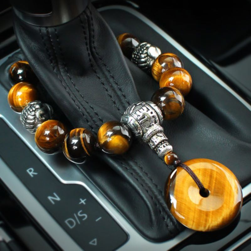 Car Ornament Natural Tiger Eye Stone Car Gear Bead Pendant Interior Gear Beads Peace Symbol Chinese Style Auto Decor Accessories