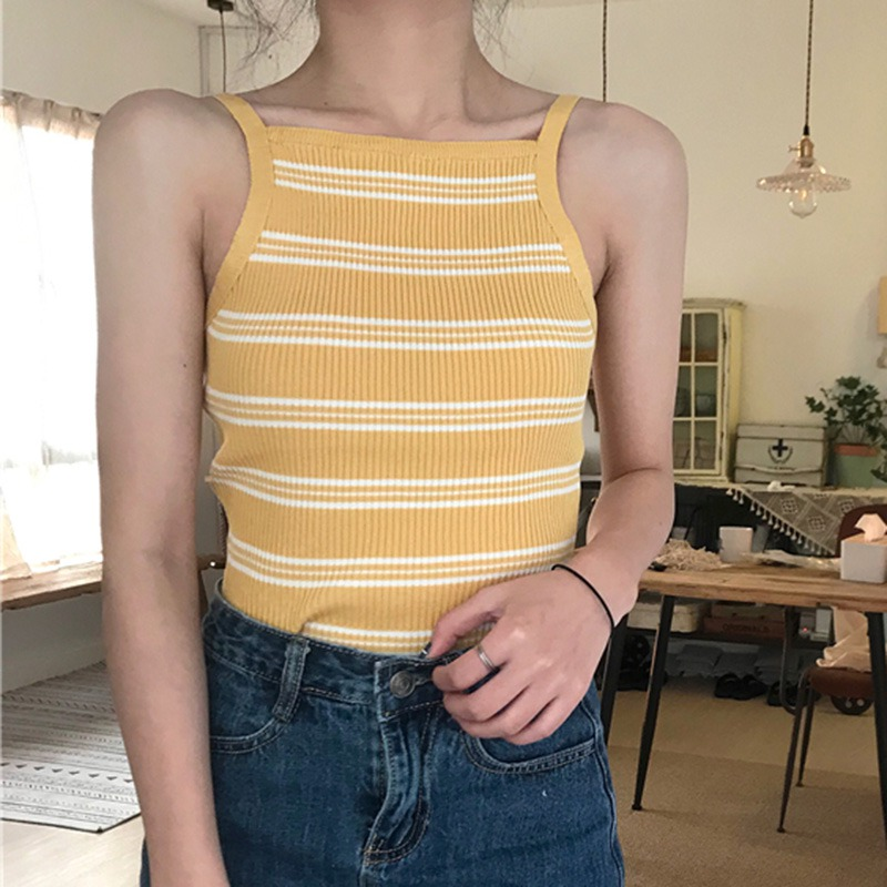 Women Sexy Off Shoulder Summer Vest Camisole Tank Top Sweet Fashion Women Stripe Tank Tops Female Casual Sleeveless Tops in Tank Tops from Women 39 s Clothing