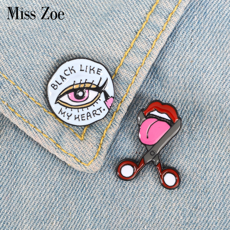 Eyeliner Cut tongue Enamel Pin Black like my heart badge brooch Lapel pin Denim Jeans shirt bag Fun Jewelry Gift for Girl Friend image