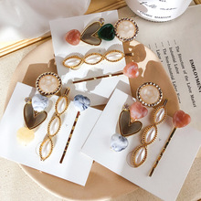 3Pcs/set Korea Vintage Acrylic Resin Beads Hairpins Pearl Metal Gold Color Hair Clips Heart Flower Sweet Side Pins