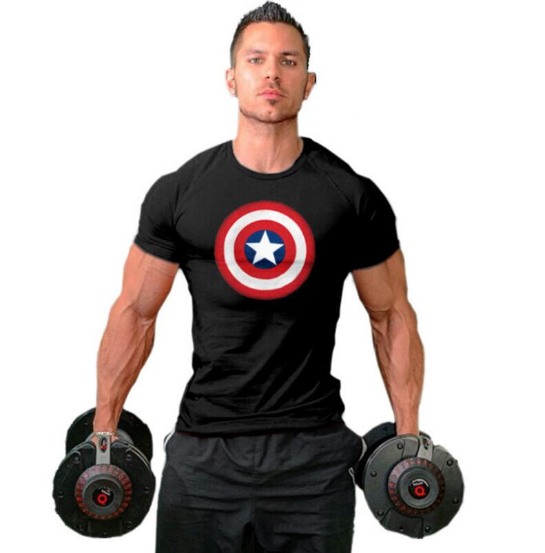 74d84539a6b5c6 Muscle guys Fitness Mens T Shirts gyms clothing Bodybuilding Clothes Men  Cotton Captain America T Shirt Men plus size-in T-Shirts from Men s Clothing  on ...