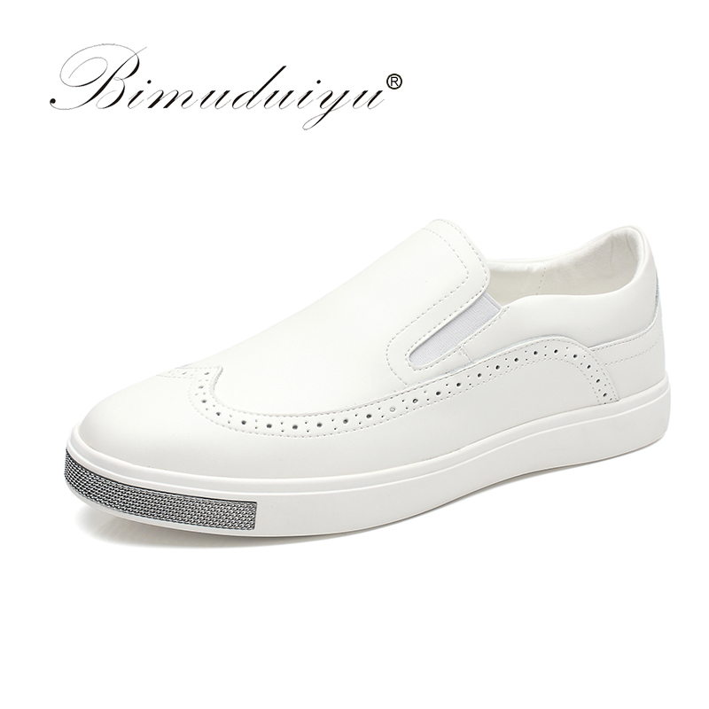 BIMUDUIYU Brand High Quality Leather Casual White Shoes Mens Brogue Style Shoes Top Quality New Fashion  Breathable Lazy Shoes bimuduiyu luxury brand mens breathable suede leather casual shoes handmade fashion male doug shoes silp on british style flats