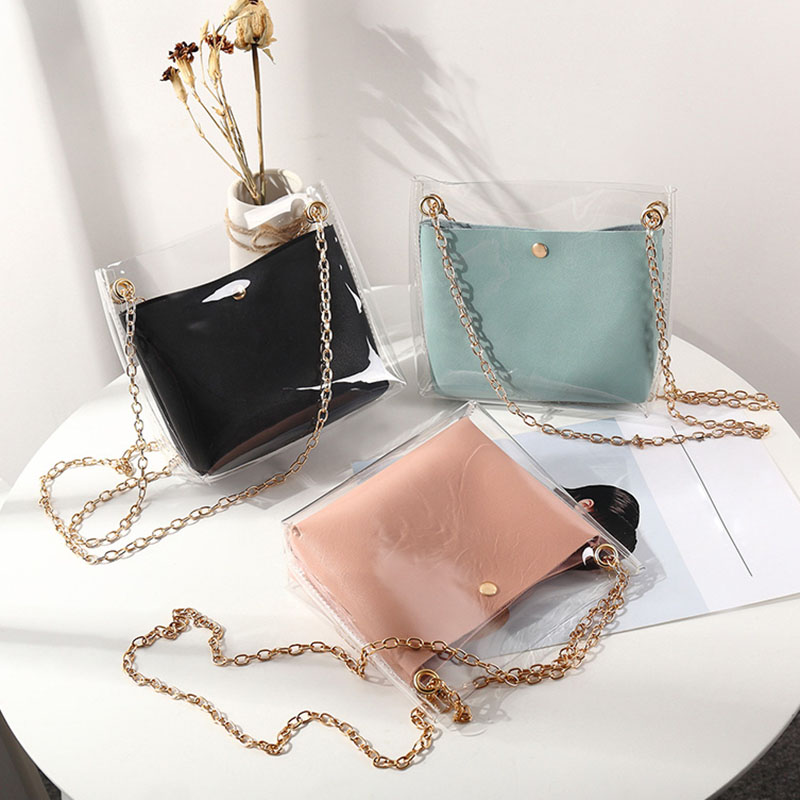 Women Composite Bags Transparent Shoulder Bag Metal Chain Magnetic Buckle PU Purse Gift New