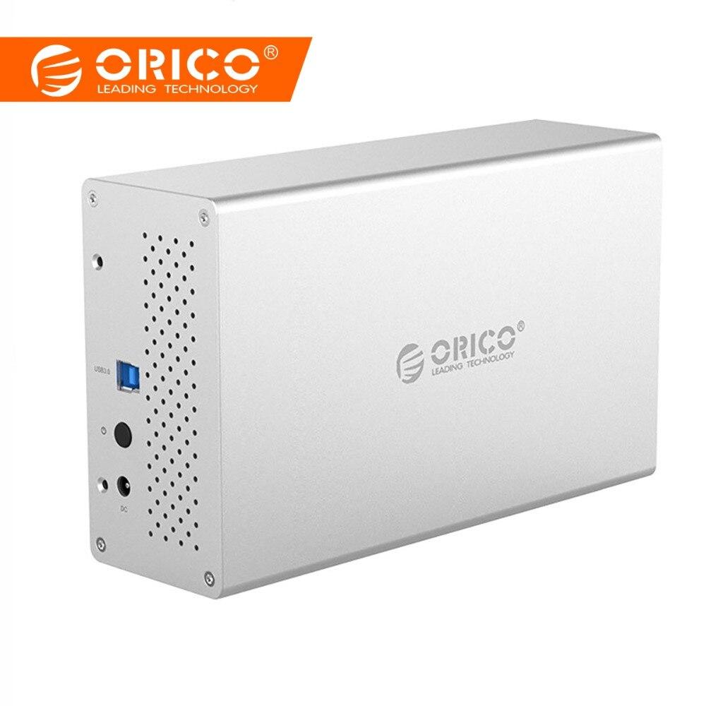 ORICO fermoir HDD Double Baie 3.5 pouces SATA à USB3.0 5 Gbps Aluminium HDD Case disque dur externe boîtier adaptateur USB Station D'accueil