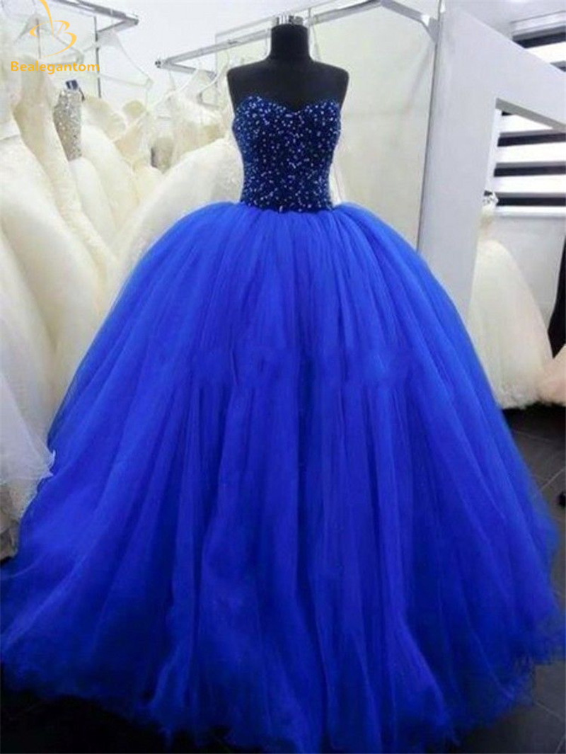 2018 New Royal Blue Quinceanera Dresses Ball Gown Beaded Lace Up Sweet 16 Dress Years Formal Prom Party Pageant Gown QA1255