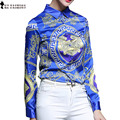 2017 High Quality European American Style long Sleeve Blouse Fall CLothing abstract Pattern Single Breasted Blue Tops T6O801