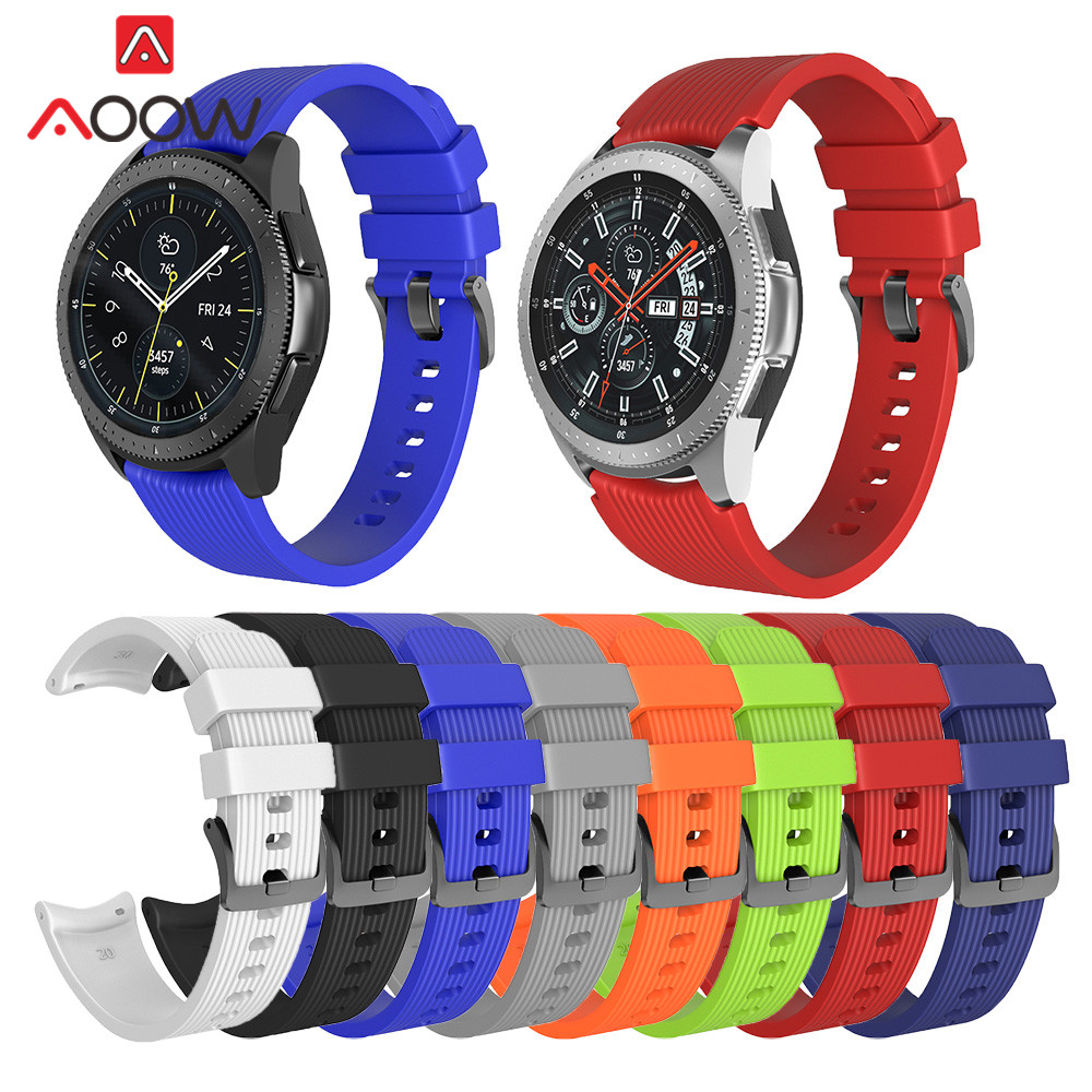 20mm 22mm Silicone Watchband For Samsung Galaxy Watch 42mm 46mm Striped Replacement Bracelet Band Strap For SM-R800 SM-R180