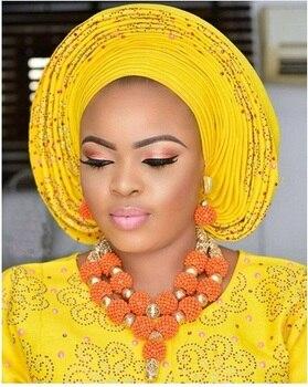 Coral Beaded African Necklace Bracelet Earrings Set Splendid Nigerian Wedding Coral Statement Jewelry Set Handmade Gold ABH688