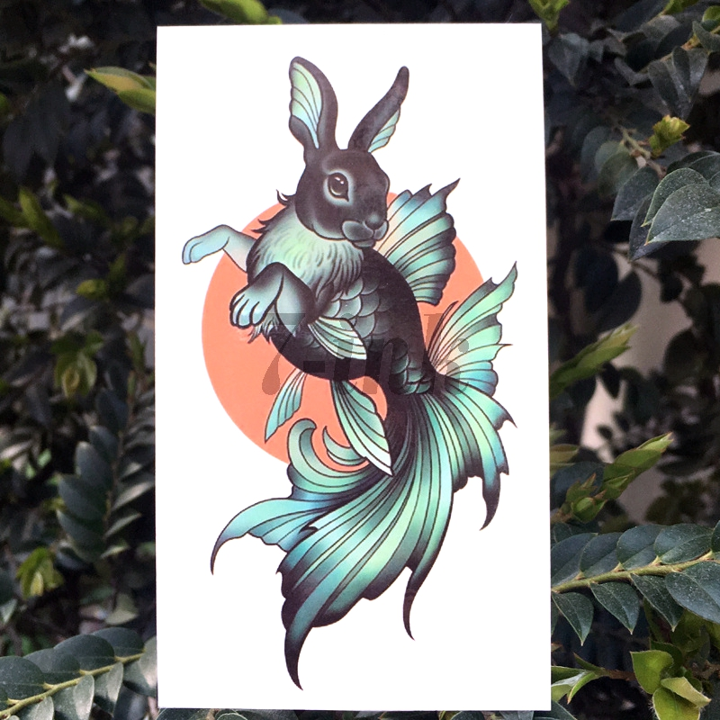 Waterproof Temporary Tattoo Green Rabbit Face Fish Body Totem Tattoo Water Transfer Fake Flash Tatoo  For Man Woman Kids