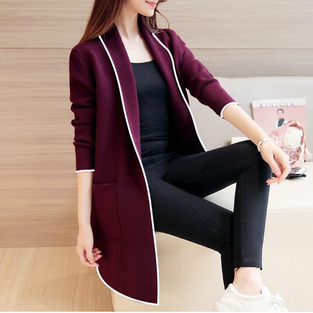 Women Autumn Winter Pockets Long Sleeve Cardigan Slim Fit Long Soft Coat Female Fashion Warm Wine Red Slim Jacket Coat