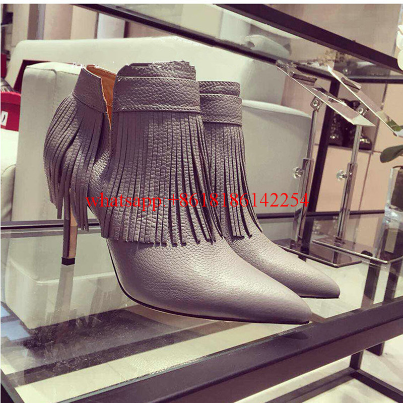 2016 Female Boots Autumn and Winter Soft Leather Boots Pointed-toe Ankle Boots Thin High Heels Tassel Boots Solid Color Botas