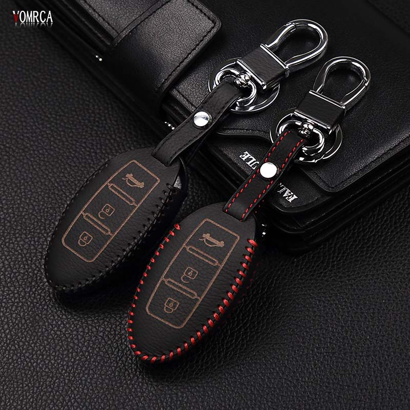 Car top layer Leather remote control car keychain key cover Case for Nissan Tidda Livida X-Trail T31 T32 3 buttons car key case fashion men 100% leather key car key holder car cover case for fiat 500 panda punto bravocar duster 3 buttons remote control