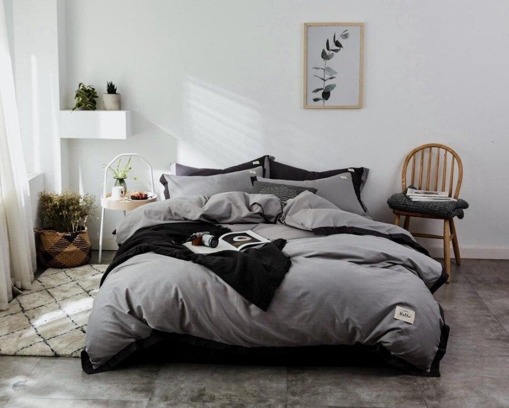 Ensemble de literie Style nordique ensemble de lit luxe coton Twin Queen King Size couleur chaude housse de couette ensemble drap de lit 3 styles