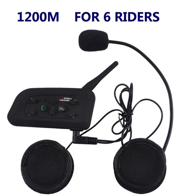 1200 M Nuevo V6 BT Inalámbrico motocicleta Casco Auricular Bluetooth Intercomunicador del Casco de Auriculares Interphone Auriculares 6 Riders 1 unidades