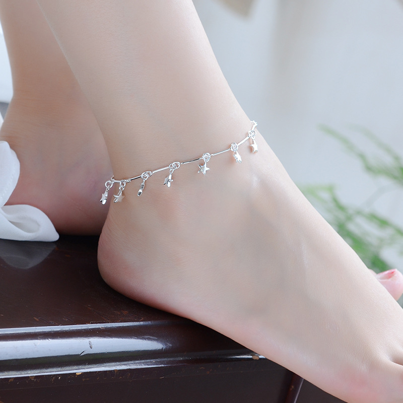 TJP New Fashion 925 Silver Women Anklets Jewelry Top Quality Bamboo Chain Star Silver Bracelets For Girl Wedding Party Bijou