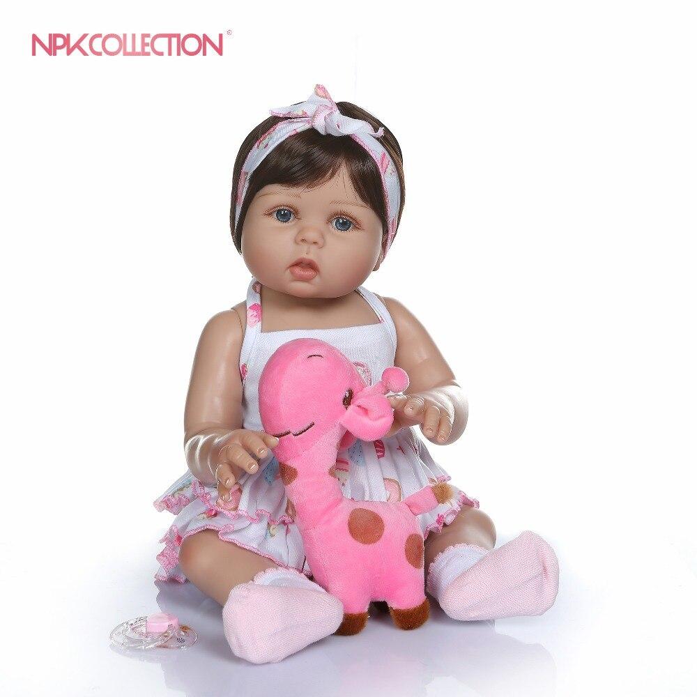 NPKCOLLECTION 47 CM nouveau-né bebe poupée reborn bébé fille poupée en peau de bronzage plein corps silicone bain jouet lol poupées de noël Gfit