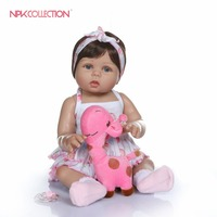 NPKCOLLECTION 47CM newborn bebe doll reborn baby girl doll in tan skin full body silicone Bath toy lol dolls Xmas Gfit