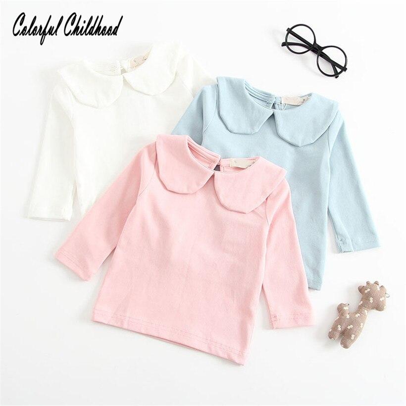 0-2y Baby Meisjes Katoenen Shirts Lange Mouw Peter Pan Kraag Effen Top Kleding T-shirt Dla Dzieci/vauvan T- Paita/baju Bayibaby T-b Verpakking Van Genomineerd Merk