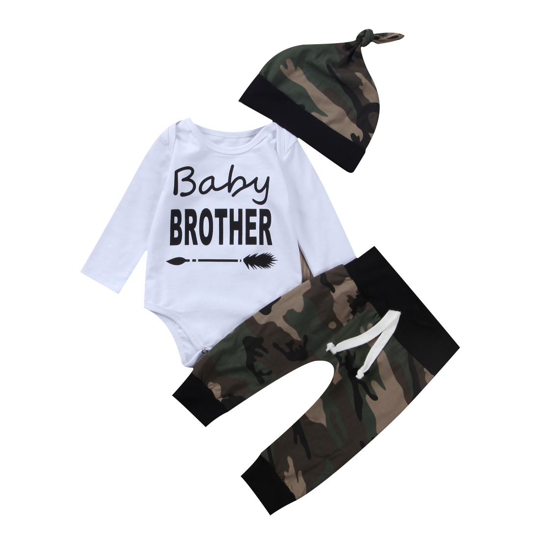 Pudcoco 3Pcs Toddler Baby Boys Summer Cotton Long Sleeve O-Neck Bodysuit Romper Camo Pants Outfits Set 0-18 Months Helen115