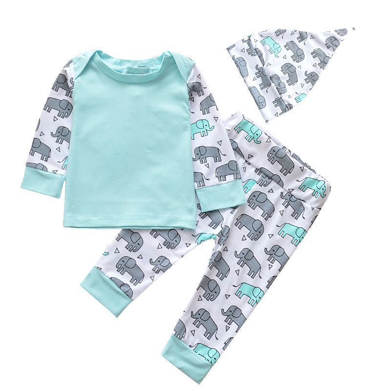 2018 Newborn Spring Clothes Set 3pcs Cute Hat Pants Long Sleeve Elephant Pattern Infant Clothing Baby Boy Tracksuit Clothes cute newborn infant baby girl boy long sleeve top romper pants 3pcs suit outfits set clothes