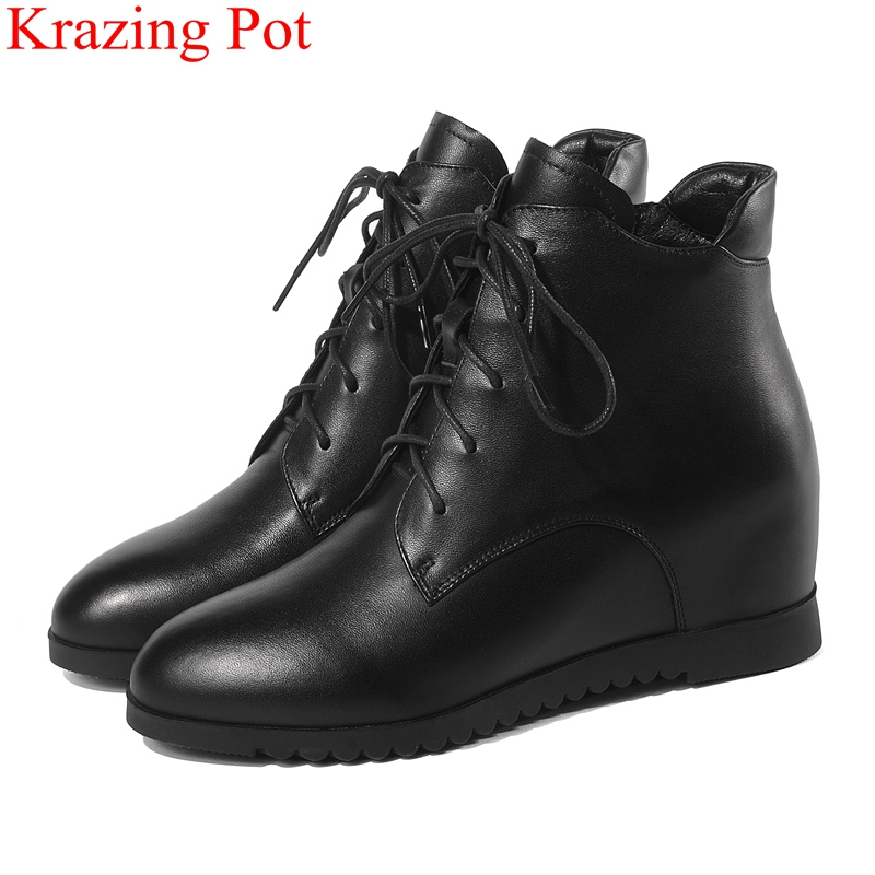 2018 superstar big size cow leather increased wedge ankle boots runway zipper women fashion boots office lady winter shoes L7f1 2018 superstar big size cow leather increased wedge ankle boots runway zipper women fashion boots office lady winter shoes L7f1