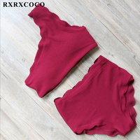 RXRXCOCO High Waist Swimsuit Women Sexy One Shoulder Bikini 2017 Solid Bikini Set Female Padded Swimwear