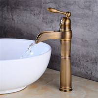 Basin Faucet Antique Waterfall Basin Faucet Unique Design Solid Brass Faucet Bathroom Bronze Hot Cold Black Mixer Tap Torneira