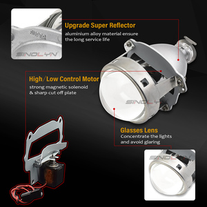 Image 2 - Sinolyn 프로젝터 헤드 라이트 렌즈 Bi xenon 미니 슈퍼 3.0 h1 HID 자동차 렌즈 H4 H7 자동차 조명 액세서리 튜닝 DIY