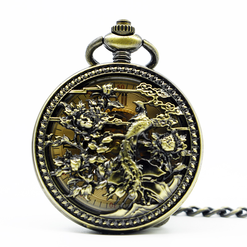 Retro  Bronze carved Steampunk Skeleton Mechanical Pocket Watch With Chain Clock Necklace Men Watches Relogio De Bolso steampunk skeleton mechanical pocket watch men vintage bronze clock necklace pocket