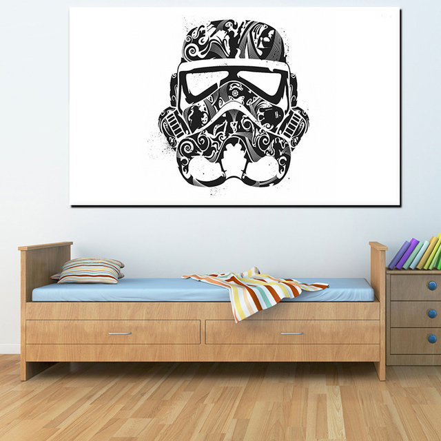 Star wars abstract trooper helmet mask black white poster prints pop movie film hipster canvas painting