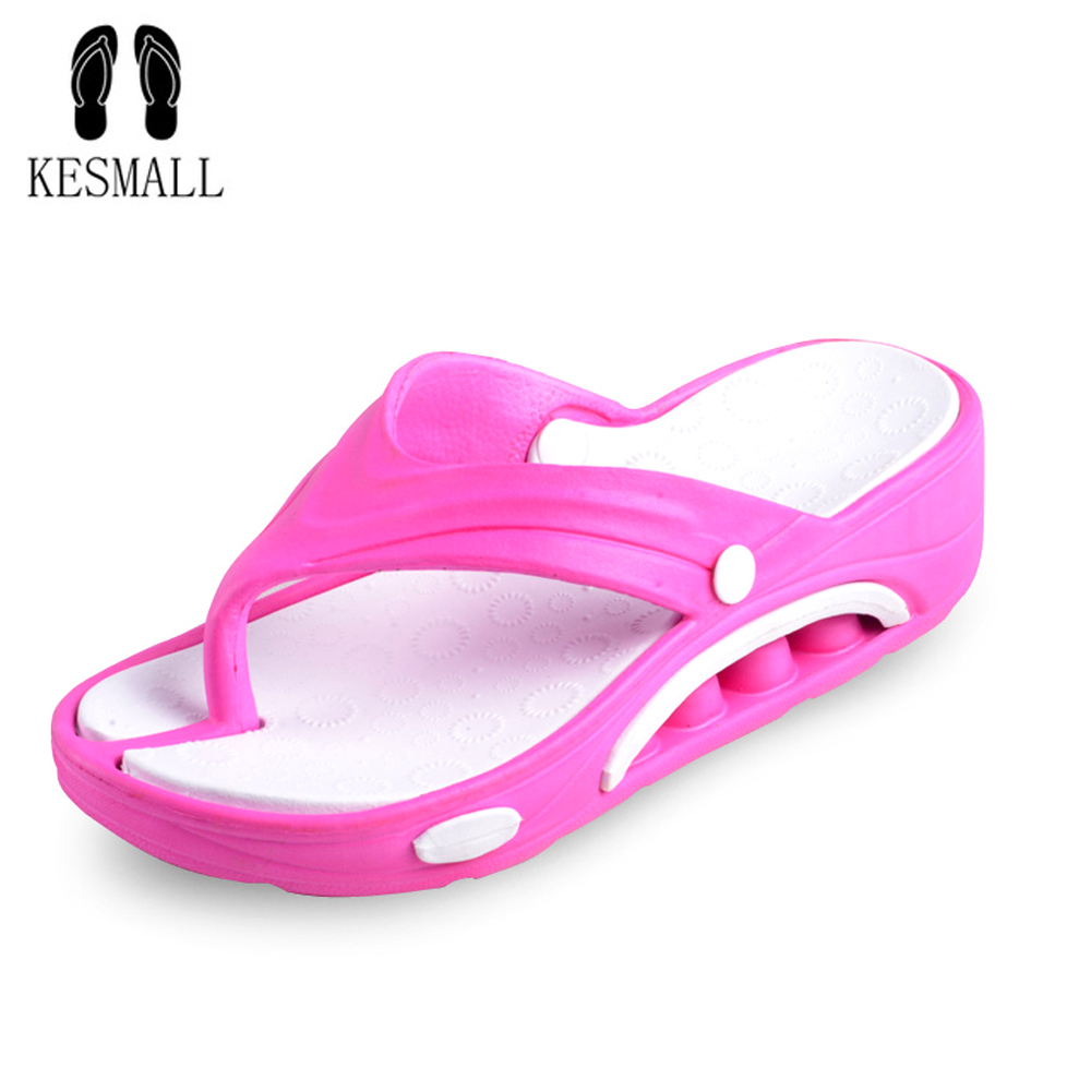 KESMALL Casual Beach Women Slipper Sandals Brand New design Summer Home Massage Flat Flip-Flops Shoes for Female plus Big Size covoyyar 2018 fringe women sandals vintage tassel lady flip flops summer back zip flat women shoes plus size 40 wss765