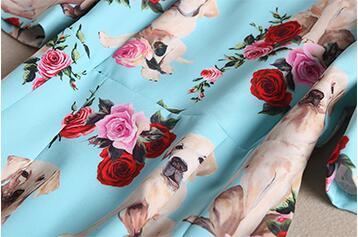 Chien D'été Afficher Cou Impression Mince Longueur Slim Nouveau Robe As O Mode Pic Empirer Genou Au Milieu Femme Vêtements qPA1Y