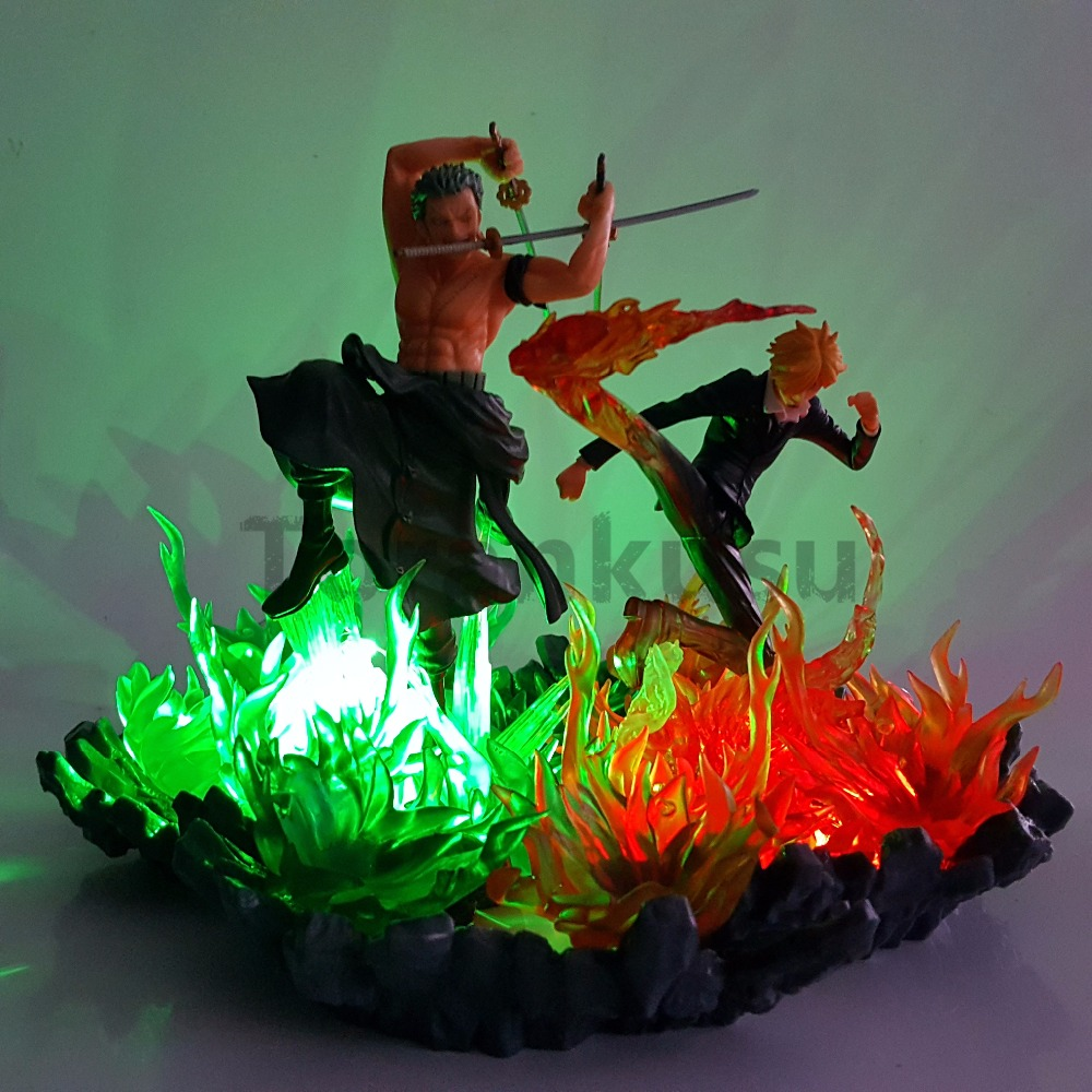 One Piece Action Figures Zoro Sanji Led Lights Fire Scene Anime One Piece Figurine Model Toy Luffy Sanji Zoro Nami кресло кровать классика коричневый