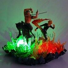 One Piece Action Figures Zoro Sanji Led Lights Fire Scene Anime One Piece Figurine Model Toy Luffy Sanji Zoro Nami