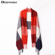 Фотография Autumn Winter Scarf Women Blanket Plaid Scarf Female Wide Lattices Shawls And Scarves Warm Women