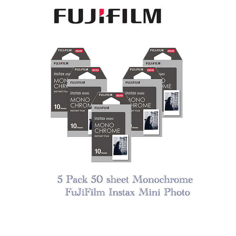 5 packs Fujifilm Instax Mini Film Monochrome For Polaroid  Mini 8 7s 7 10 20 30 50s 50i 90 25 dw Share SP-1 Instant Lomo fujifilm fuji instax mini 8 film 100 sheets instsnt photo free gift photo stickers for mini 8 7s 25 50s 90 instant camera paper