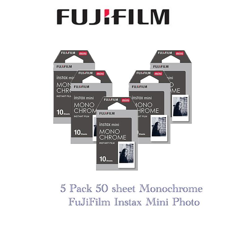 5 paquets Fujifilm Instax Mini Film Monochrome pour Polaroid Mini 8 7 s 7 10 20 30 50 s 50i 90 25 dw partager SP-1 Lomo instantané